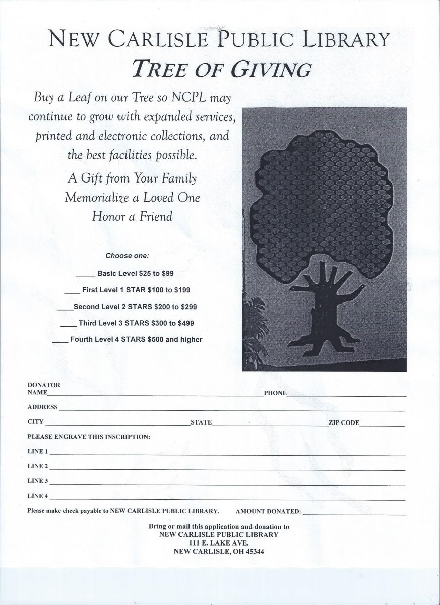 Our Tree of Giving Allows You to Memorialize a Loved One.  Call 845-3601 for more information.
